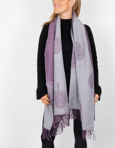 Reversible Mulberry Tree Pashmina & Scarf  - Purple & Grey